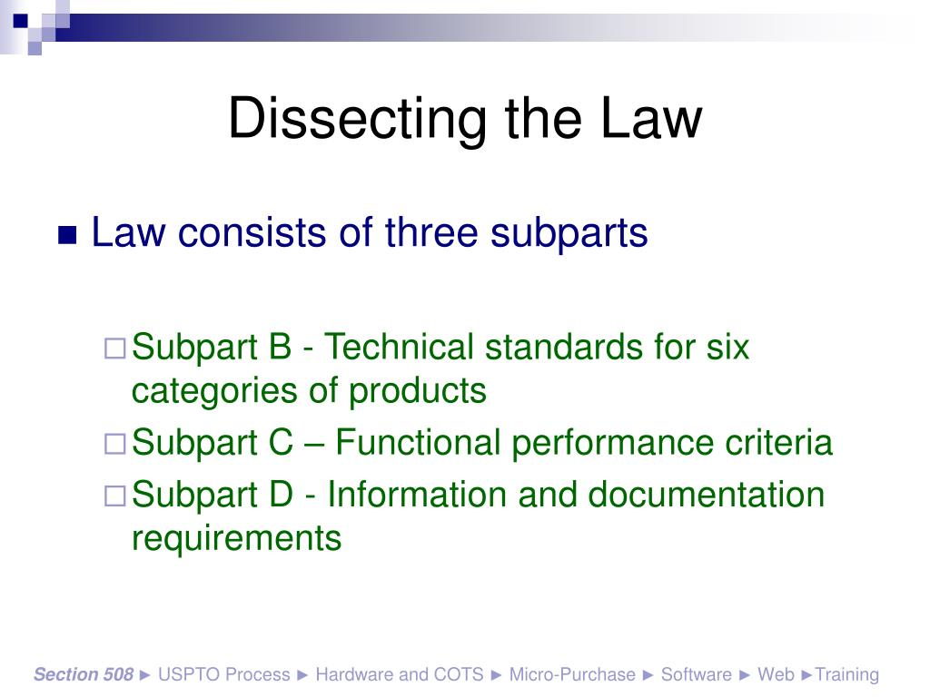 Dissecting the Law