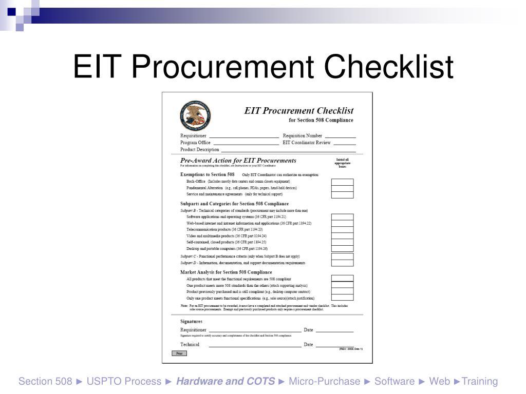 EIT Procurement Checklist