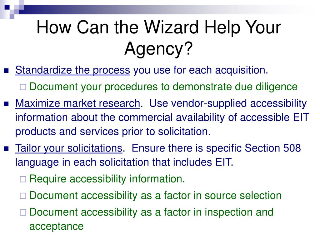 How Can the Wizard Help Your Agency?