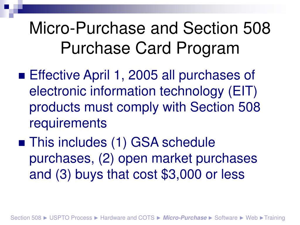 Micro-Purchase and Section 508