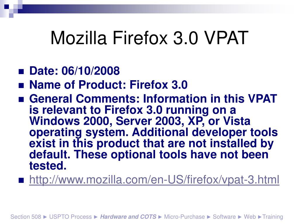 Mozilla Firefox 3.0 VPAT