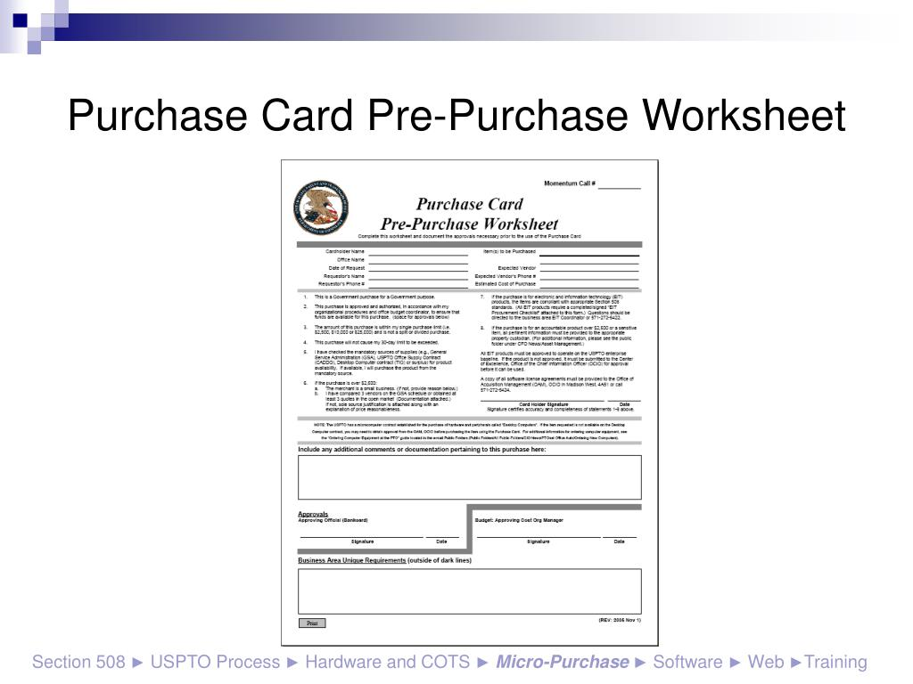 Purchase Card Pre-Purchase Worksheet