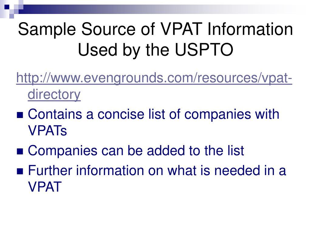 Sample Source of VPAT Information