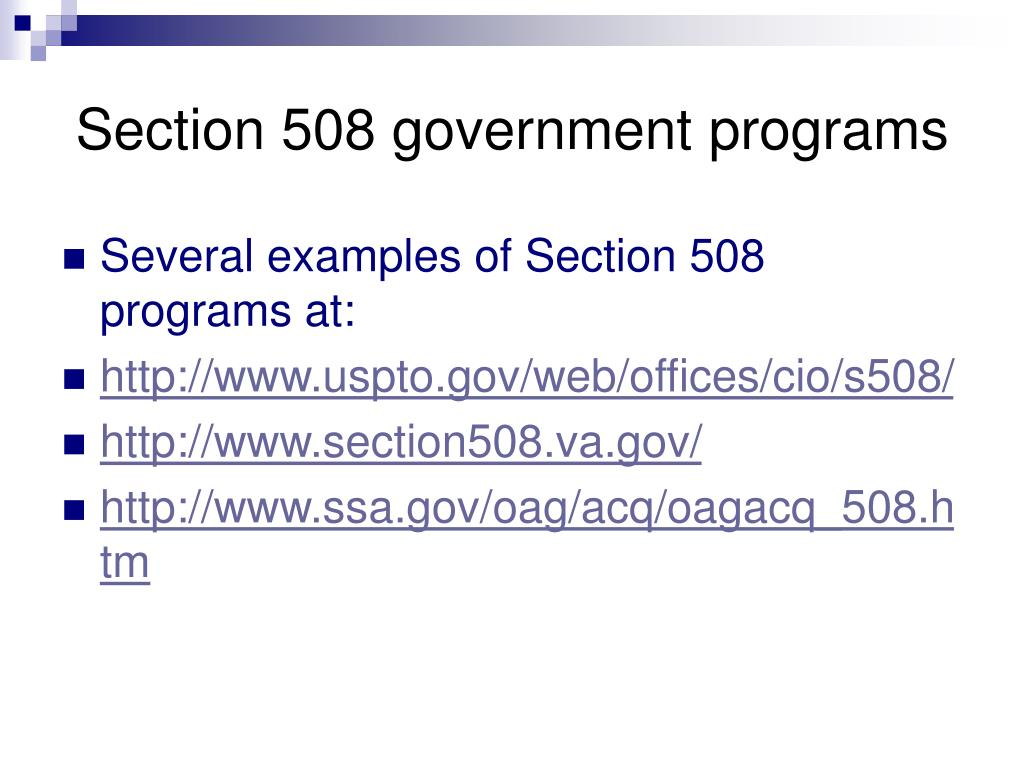 Section 508 government programs