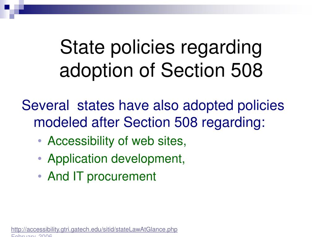 State policies regarding adoption of Section 508