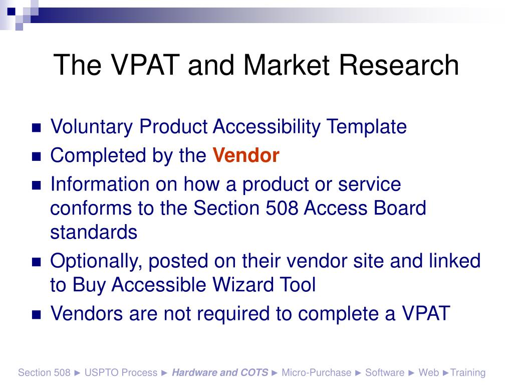 The VPAT and Market Research
