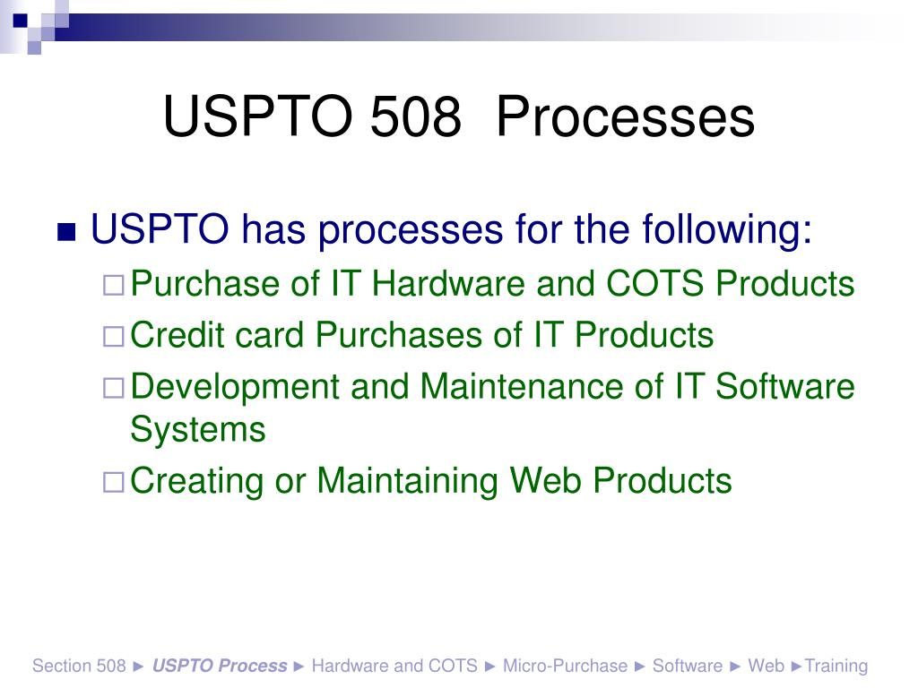 USPTO 508  Processes