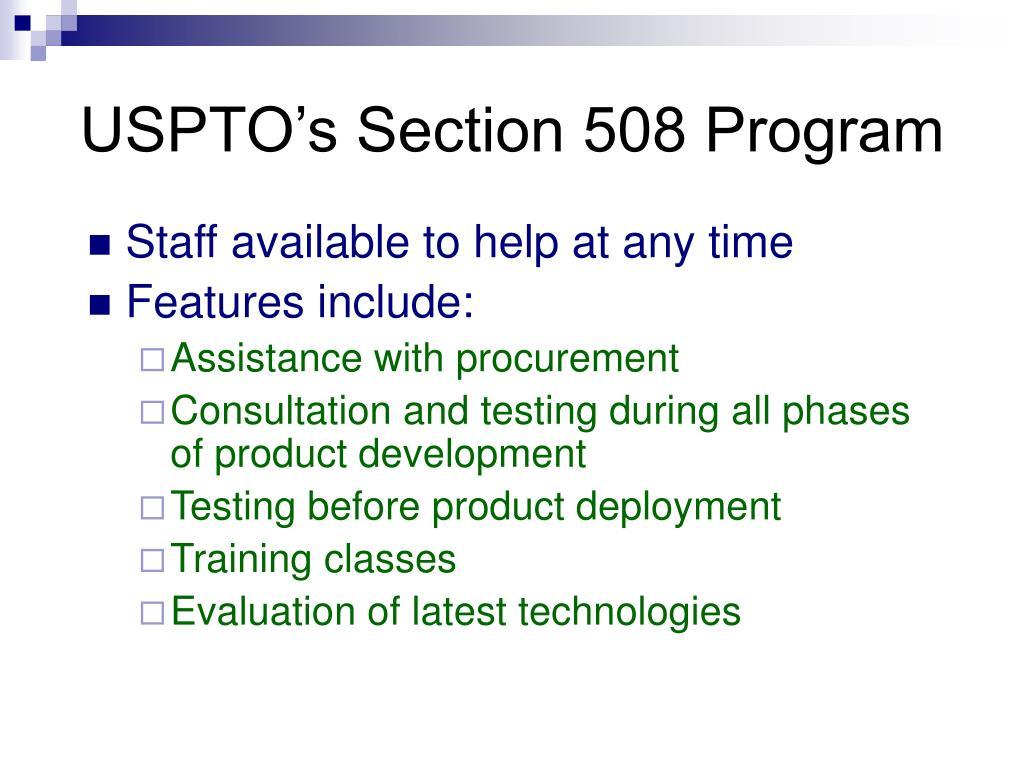 USPTO's Section 508 Program