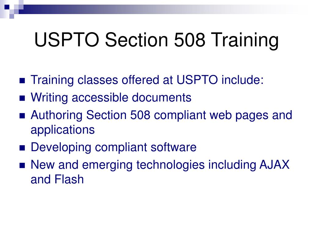 USPTO Section 508 Training