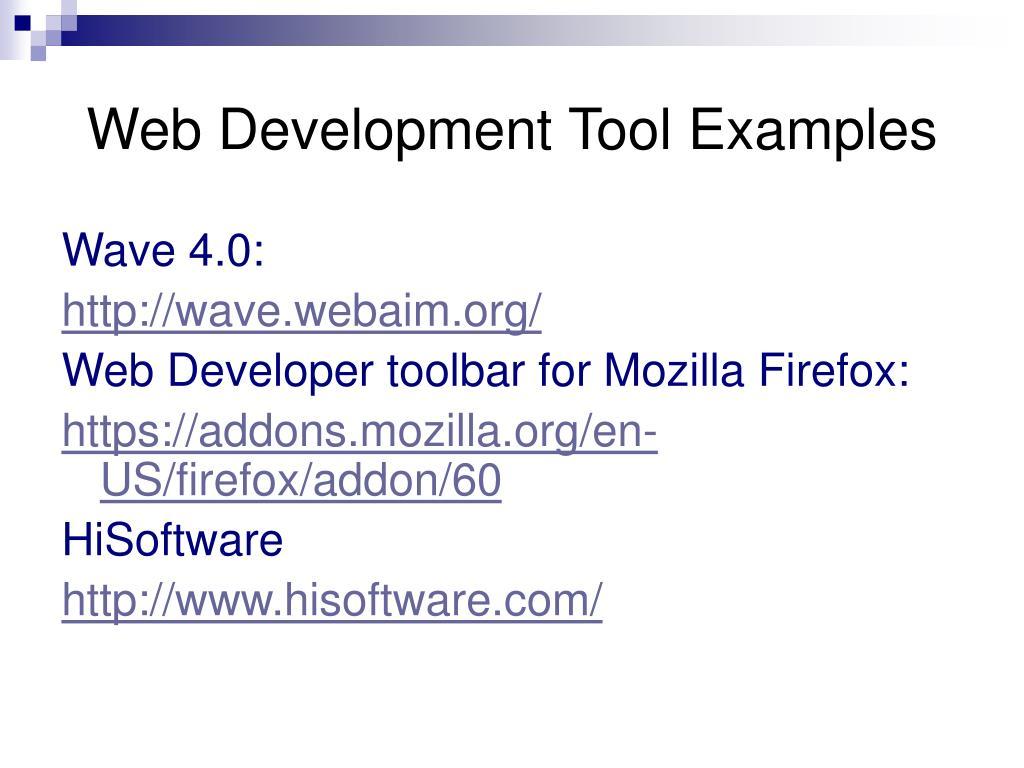 Web Development Tool Examples