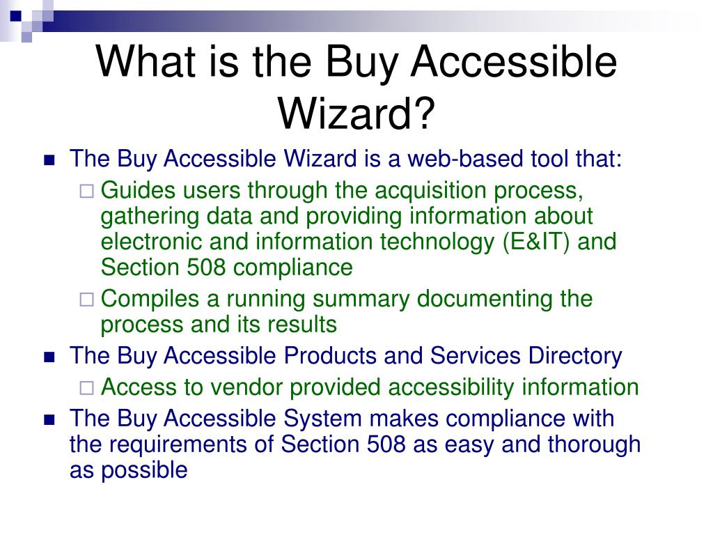 What is the Buy Accessible Wizard?