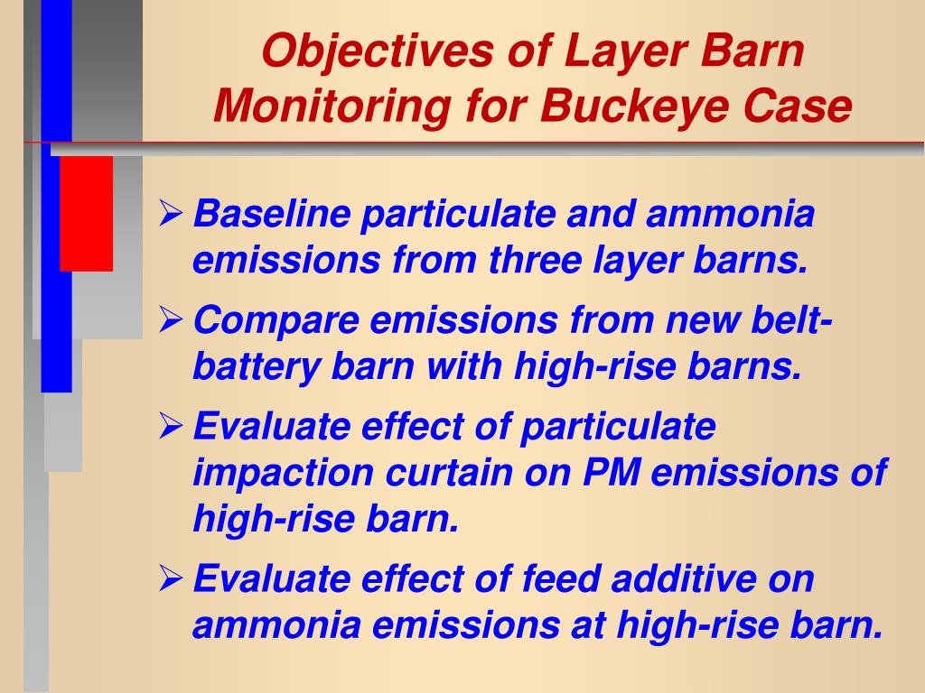 Objectives of Layer Barn Monitoring for Buckeye Case