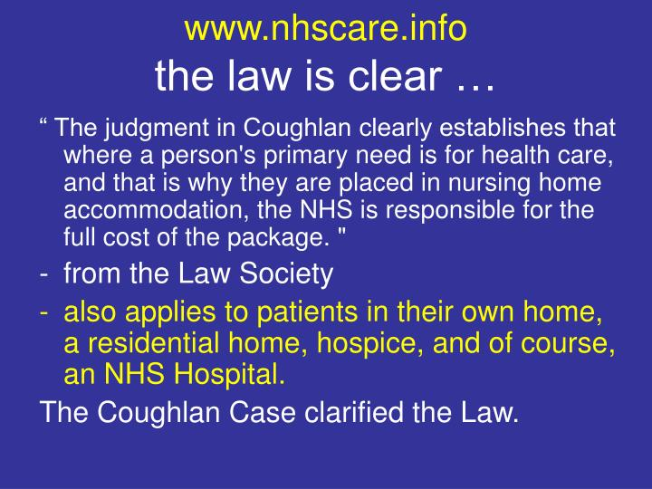Www nhscare info the law is clear
