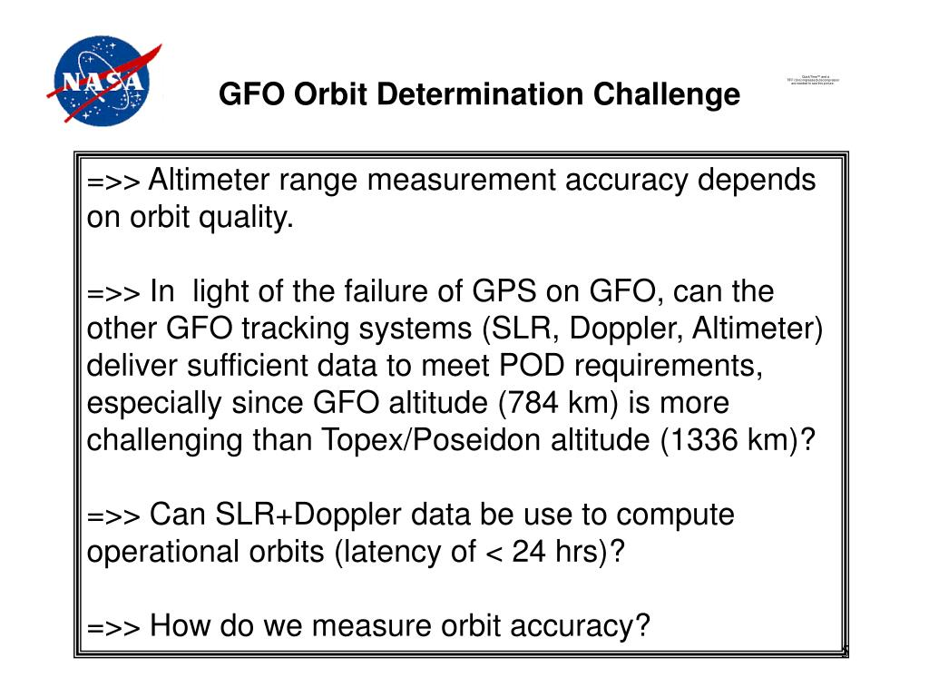 GFO Orbit Determination Challenge