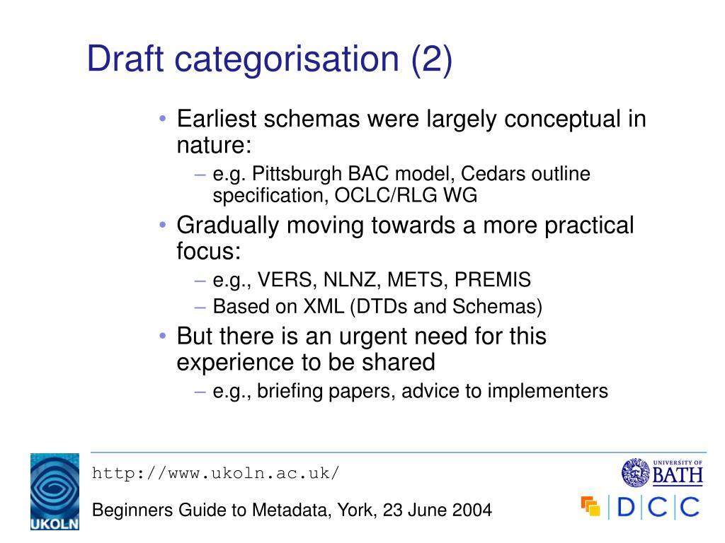 Draft categorisation (2)