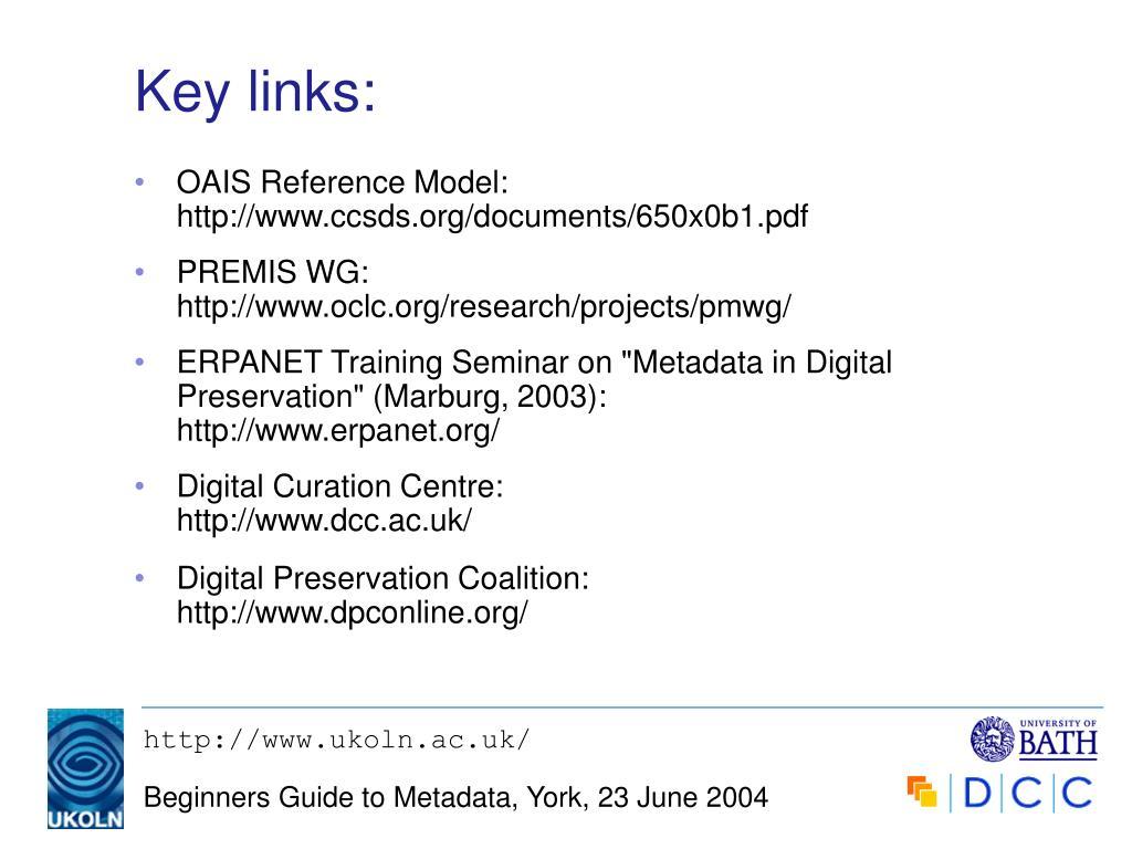 Key links: