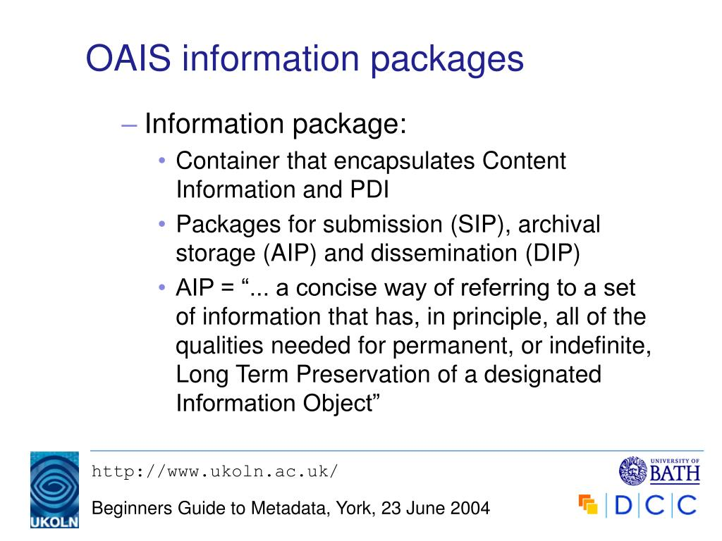 OAIS information packages