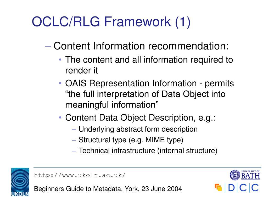 OCLC/RLG Framework (1)