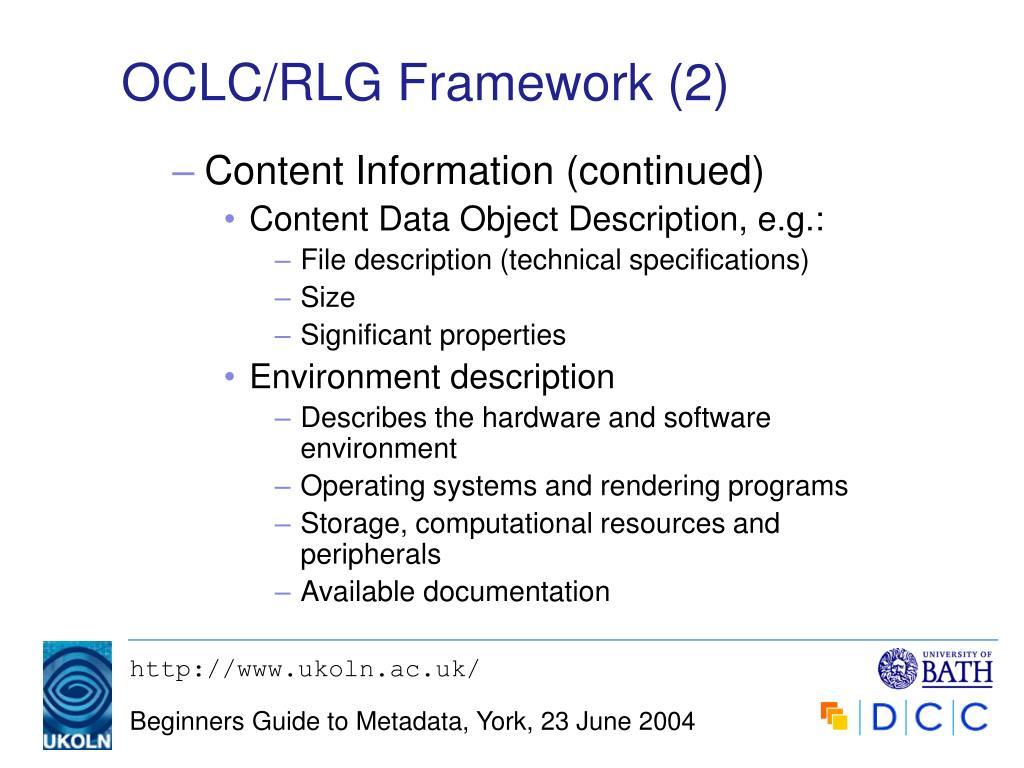 OCLC/RLG Framework (2)