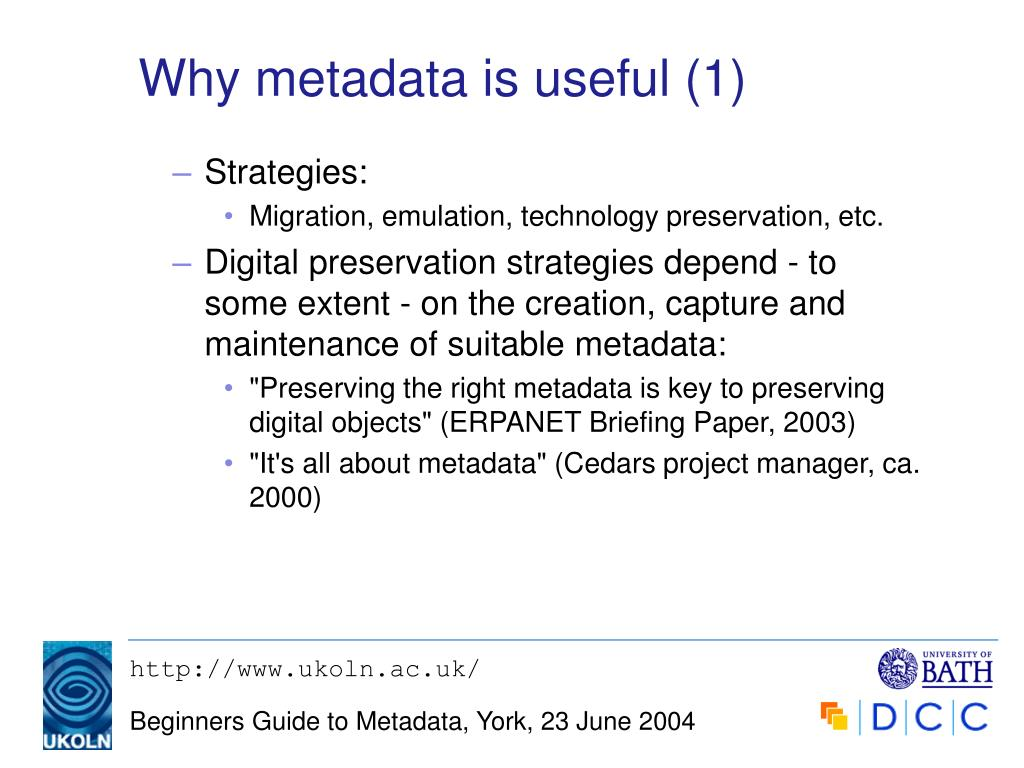 Why metadata is useful (1)