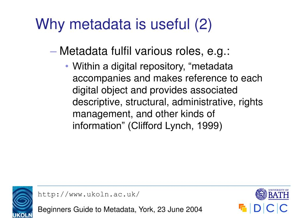Why metadata is useful (2)