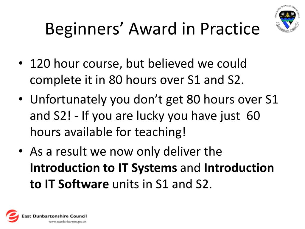 Beginners' Award in Practice