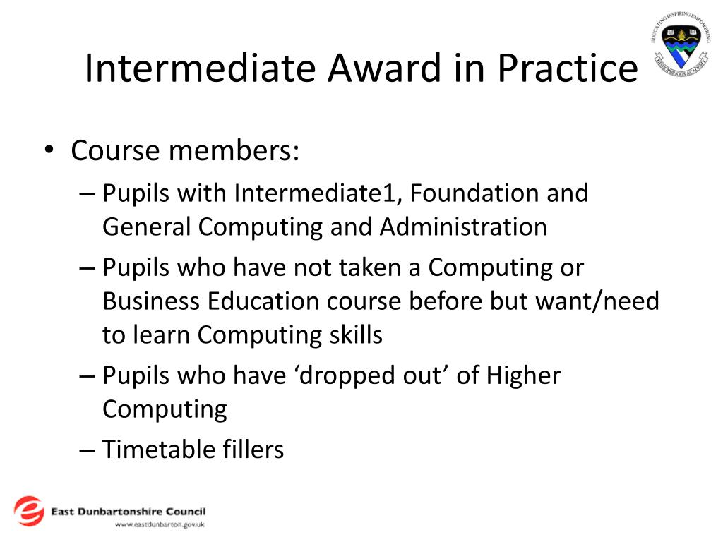 Intermediate Award in Practice
