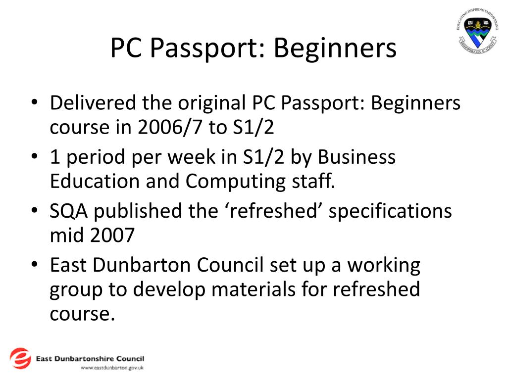 PC Passport: Beginners