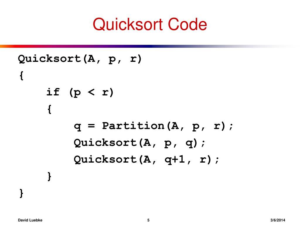 Quicksort Code