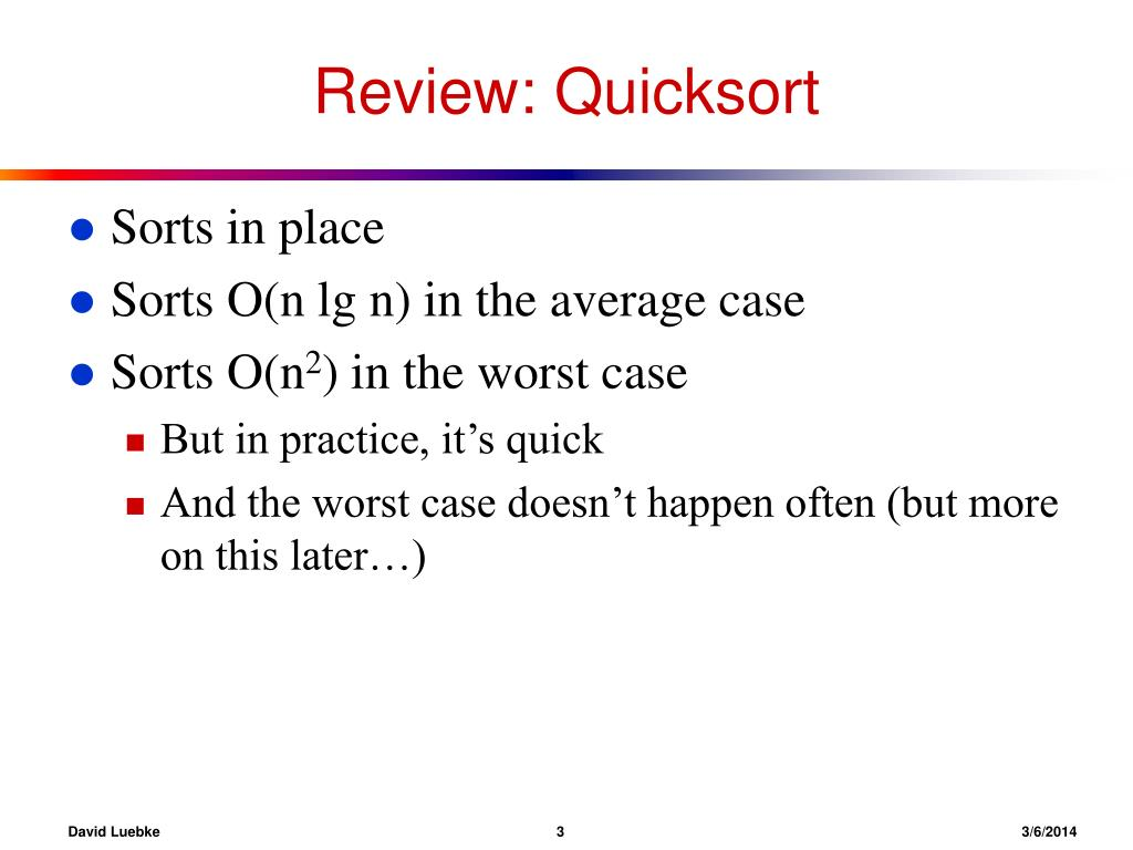 Review: Quicksort
