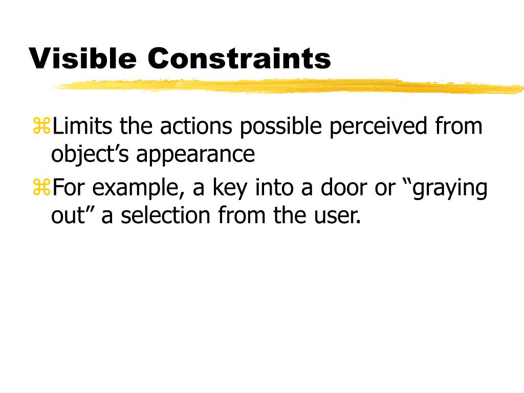 Visible Constraints