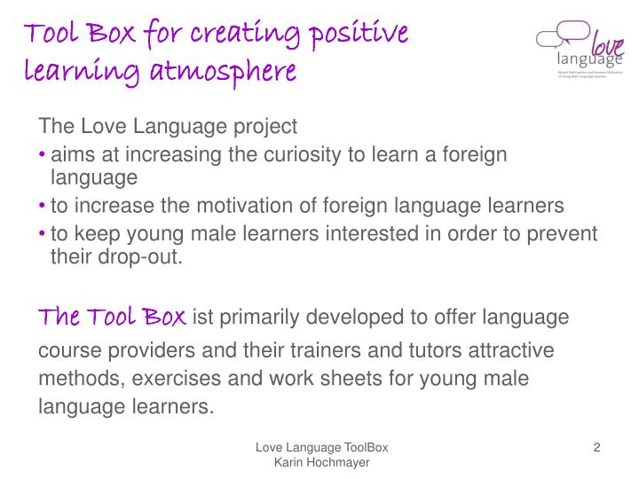 Tool box for creating positive learning atmosphere