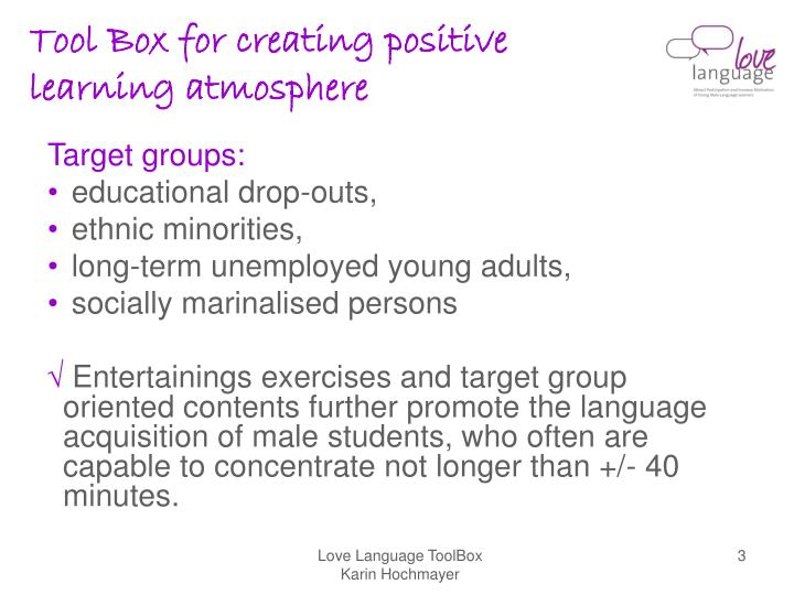 Tool box for creating positive learning atmosphere3