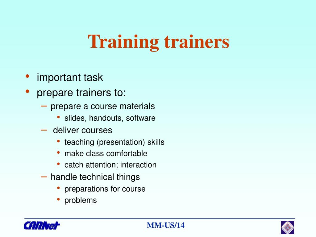 Training trainers
