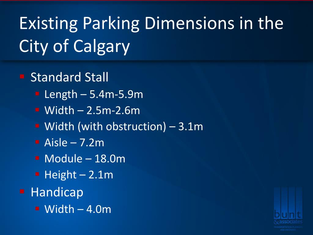 Existing Parking Dimensions in the City of Calgary