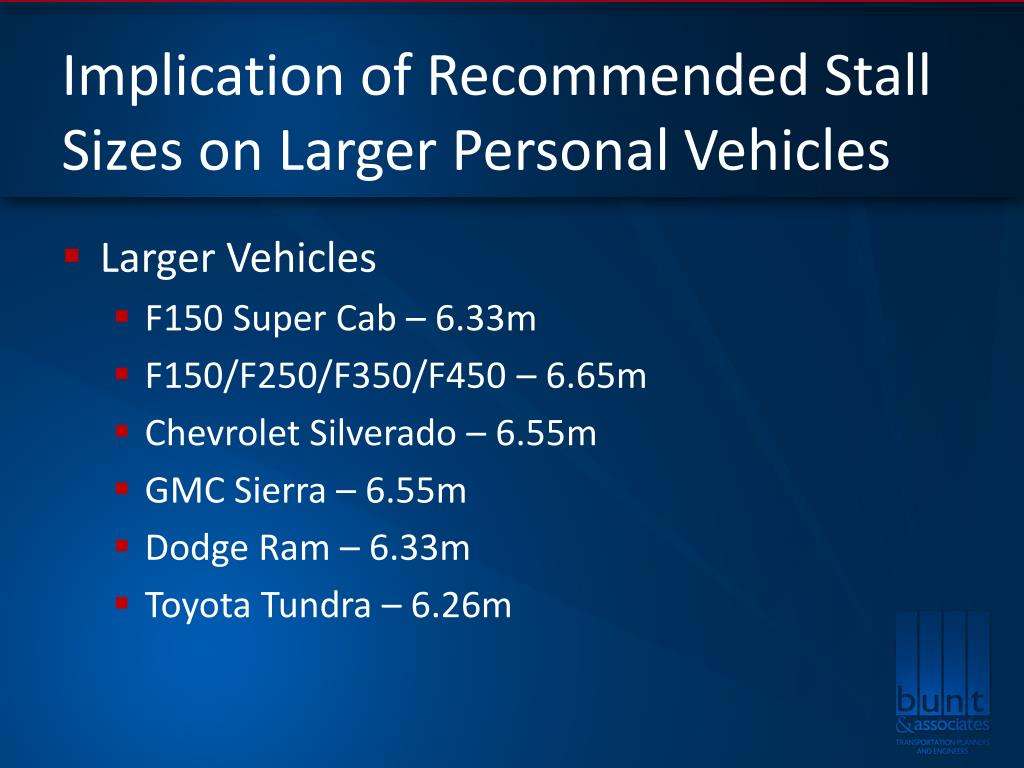 Implication of Recommended Stall Sizes on Larger Personal Vehicles