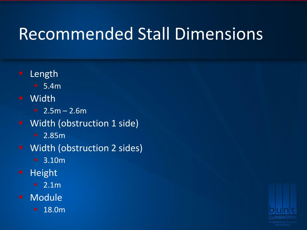 Recommended Stall Dimensions