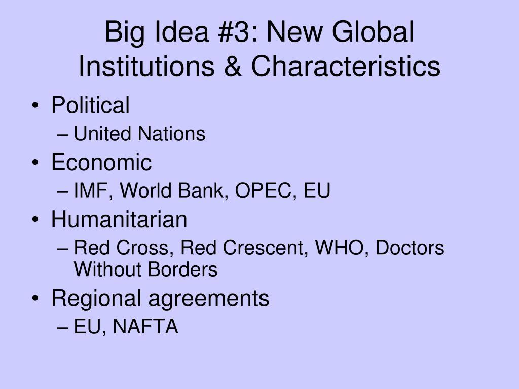 Big Idea #3: New Global Institutions & Characteristics