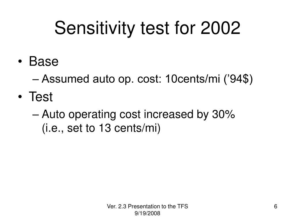 Sensitivity test for 2002