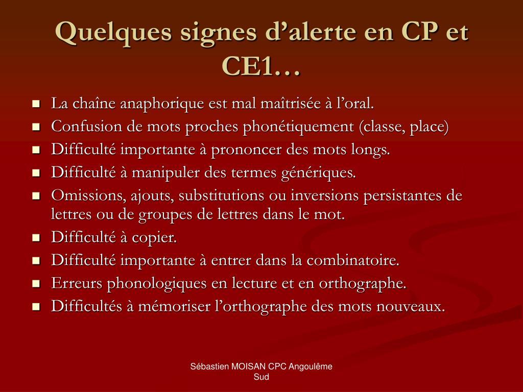 Quelques signes d'alerte en CP et CE1…