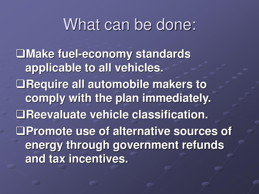 What can be done: