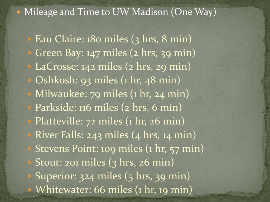 Mileage and Time to UW Madison (One Way)