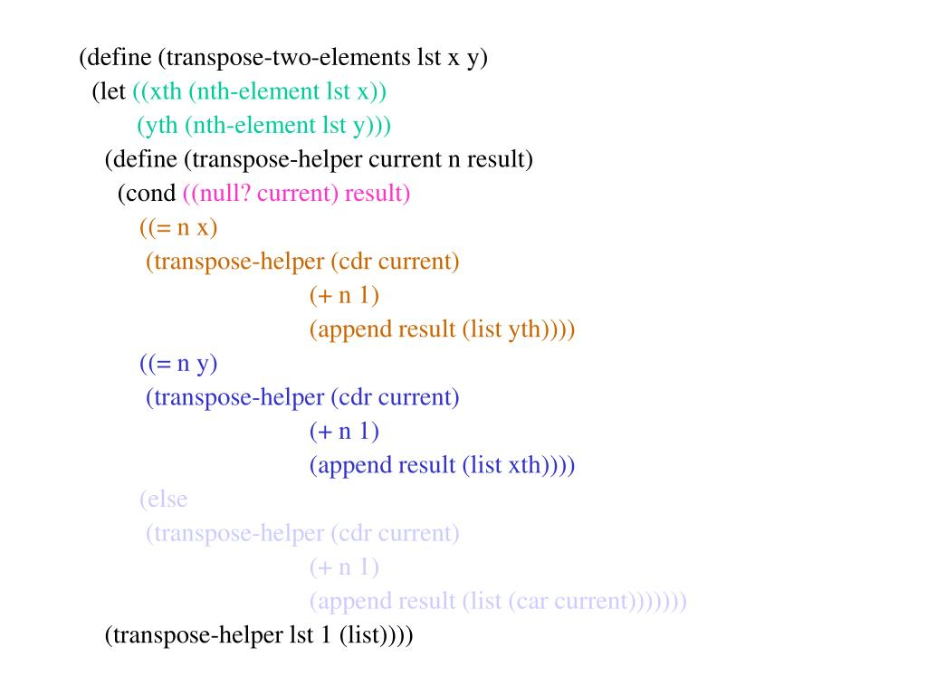 (define (transpose-two-elements lst x y)