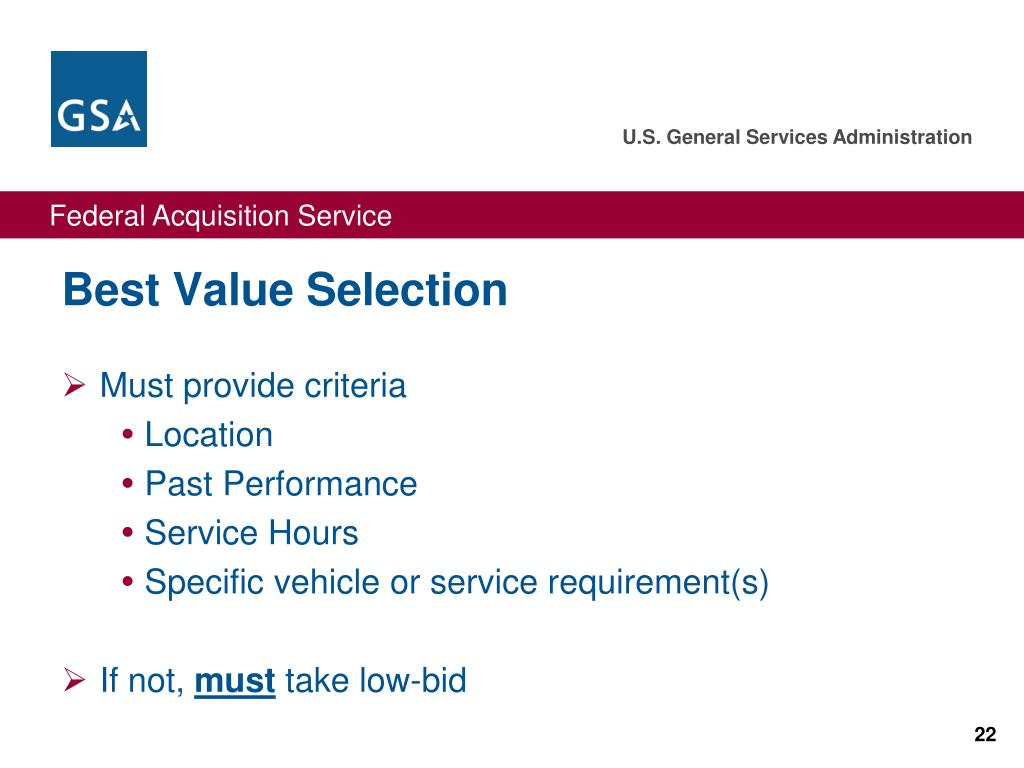 Best Value Selection