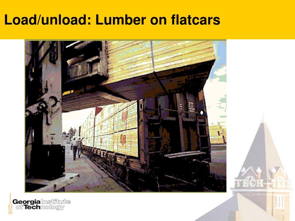 Load/unload: Lumber on flatcars