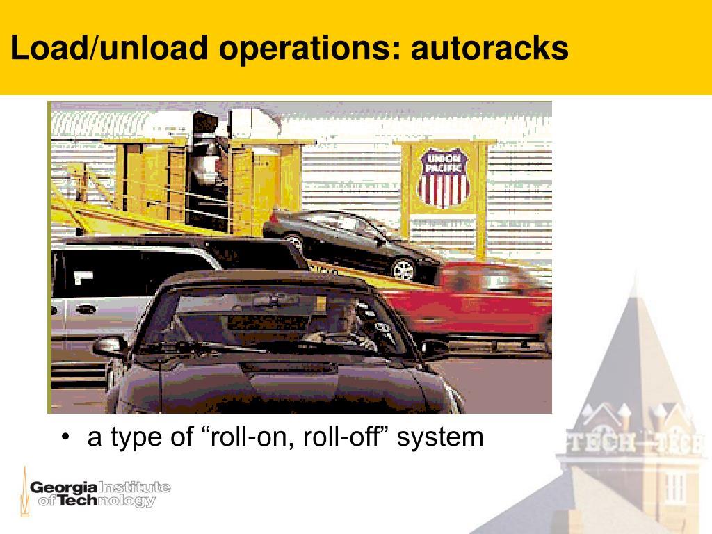 Load/unload operations: autoracks