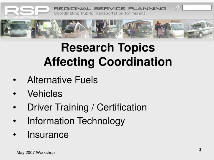 Research topics affecting coordination