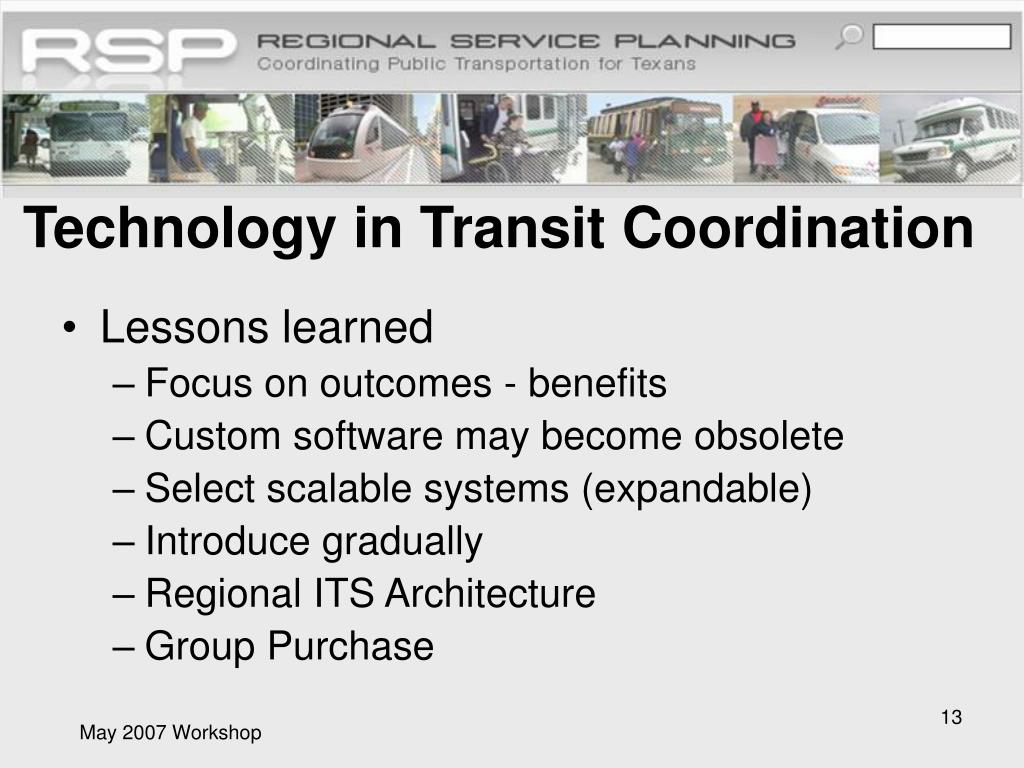 Technology in Transit Coordination