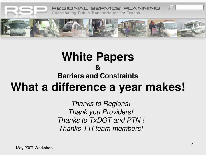 White papers barriers and constraints what a difference a year makes