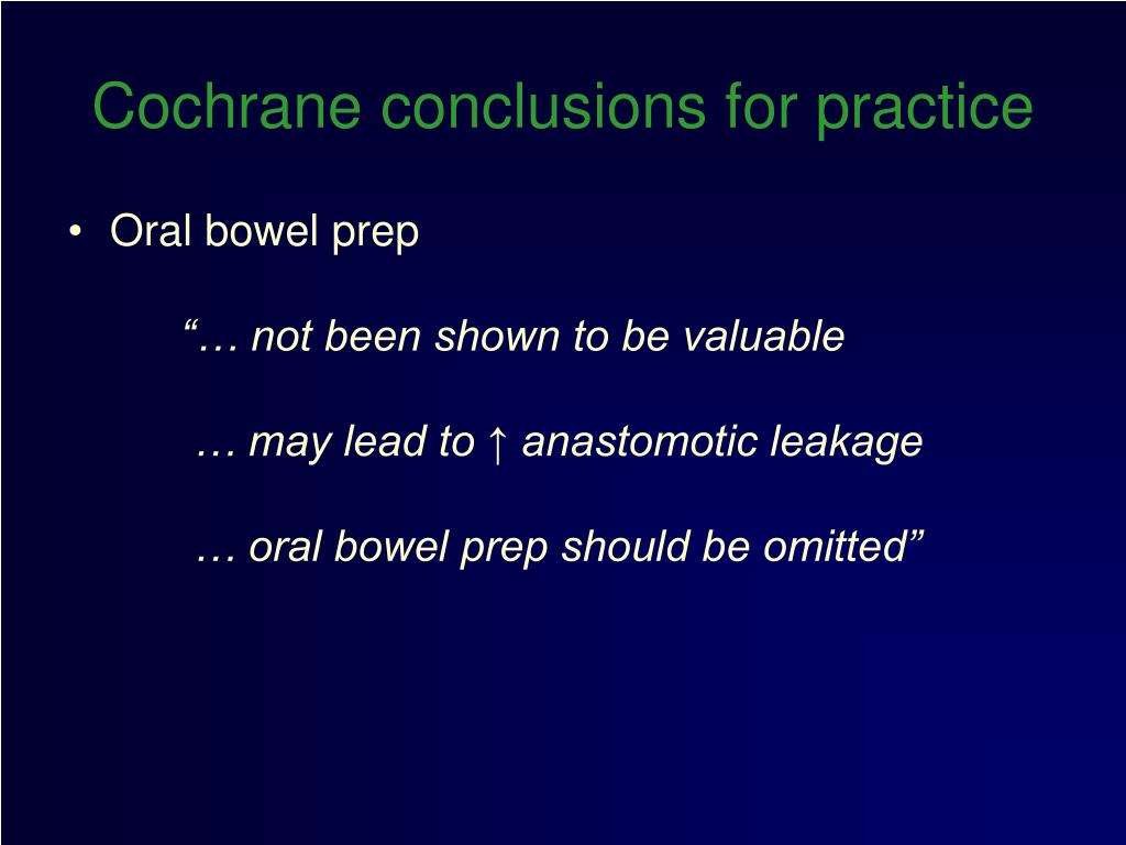 Cochrane conclusions for practice
